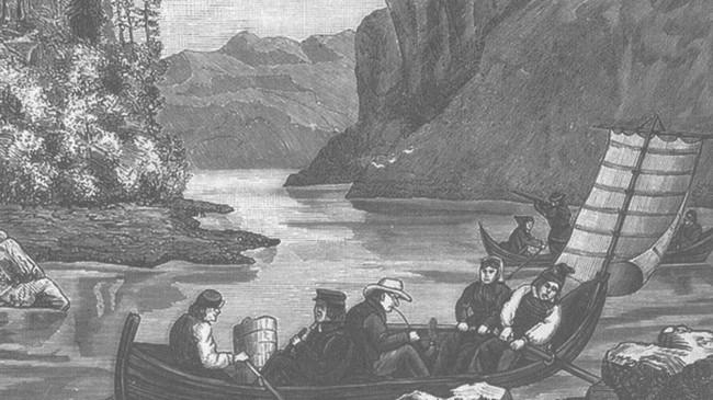 Båtskyss på Førdefjorden ved Vevring. Teikning av O. Wald.