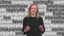 Meteorolog Kjersti Opstad Strand forklarar vêruttrykk - Foto: NRK
