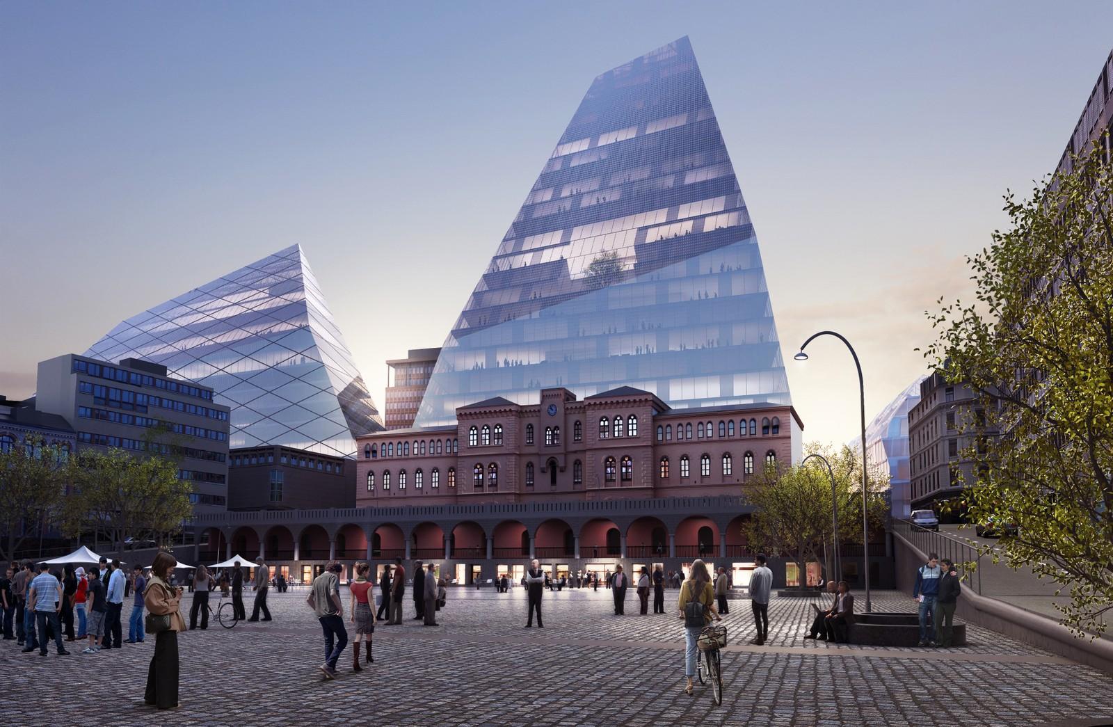 NUMMER 2 - BIG: Slik ser BIG for seg at pyramidene deres skal rage over populære Youngstorget i Oslo sentrum.
