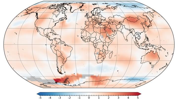 Global temperatur juli 2017 - Foto: NASA