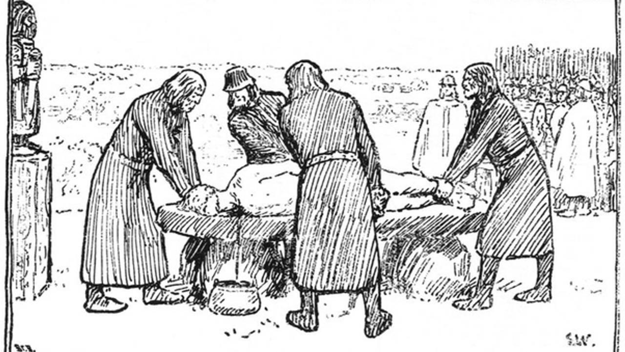 Sagnkongen Domalde ofres. Tegning av Erik Werenskiold fra Snorre Sturlasons kongesagaer.