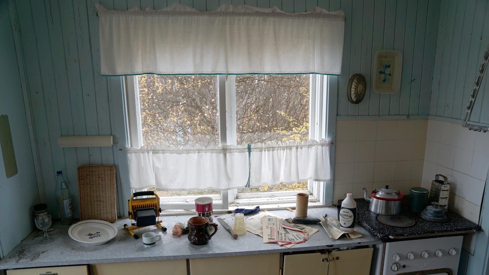 Kjøkkenbenk med innebygd vedkasse like ved ovn.
