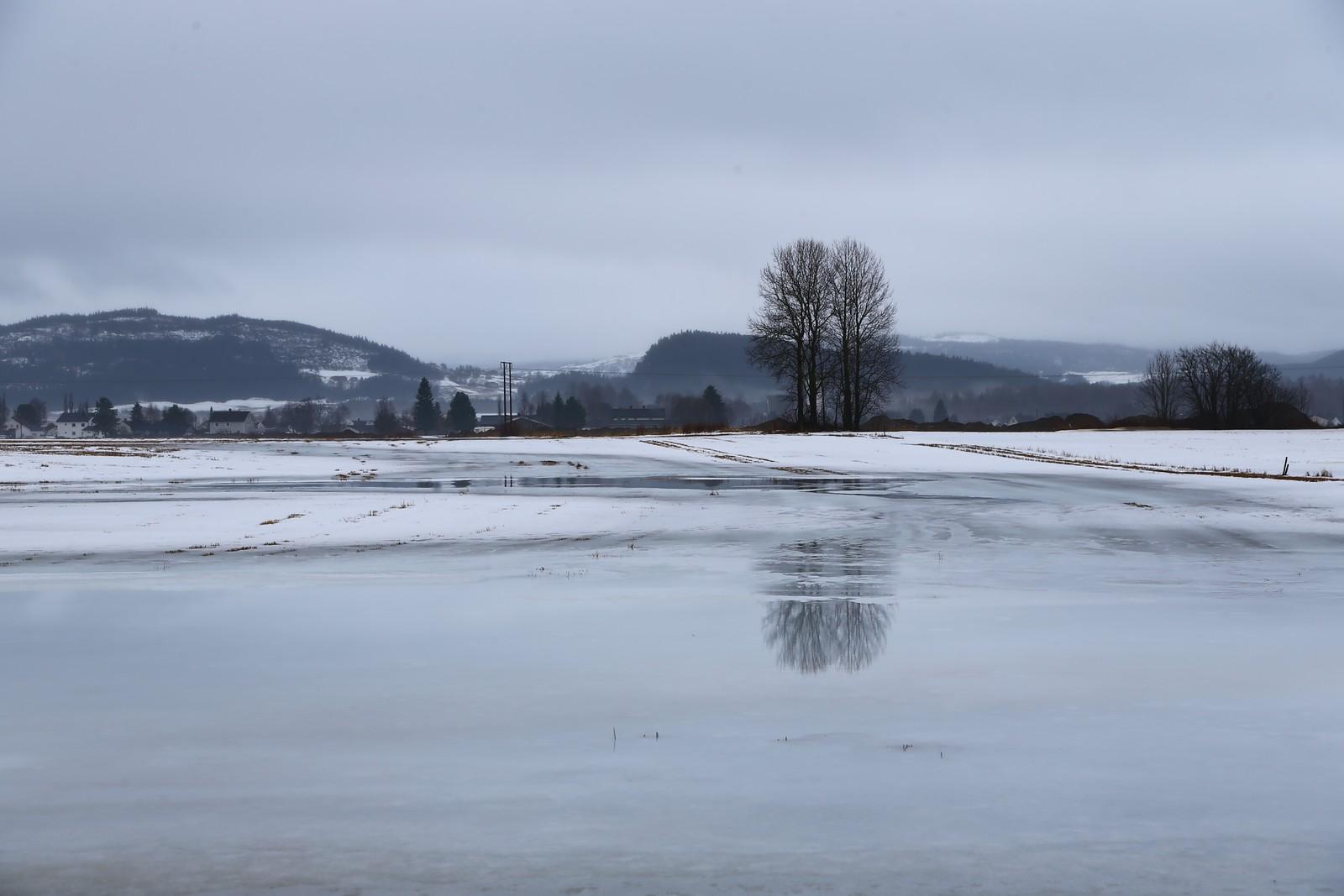 Flere åkrer i området er fulle av vann.
