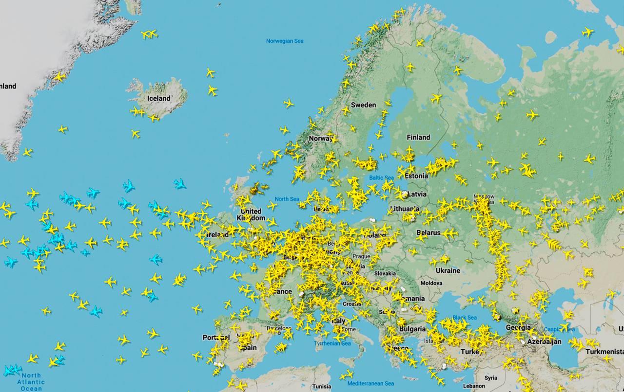 Flytrafikk over Atlanterhavet 25. mars 2020.