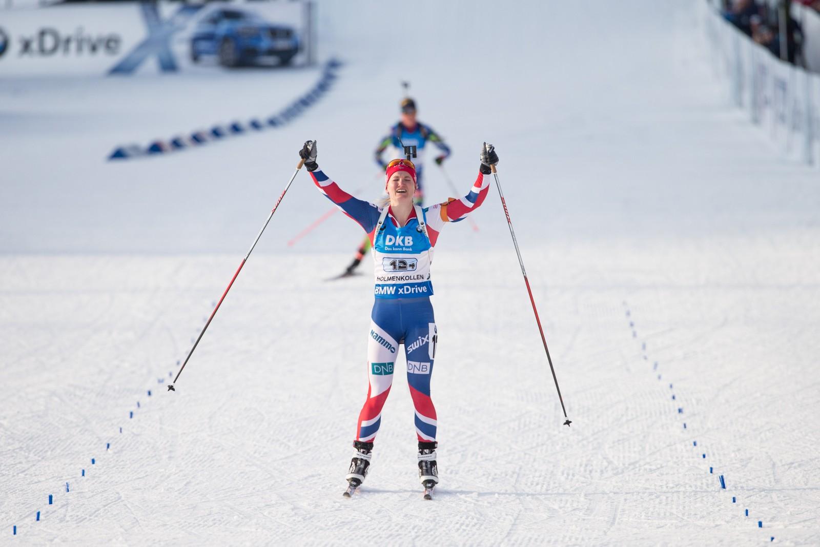 Skiskytter-VM i Oslo 2016. Marte Olsbu gikk Norge inn til gullmedalje under stafett kvinner i VM i skiskyting i Holmenkollen fredag.