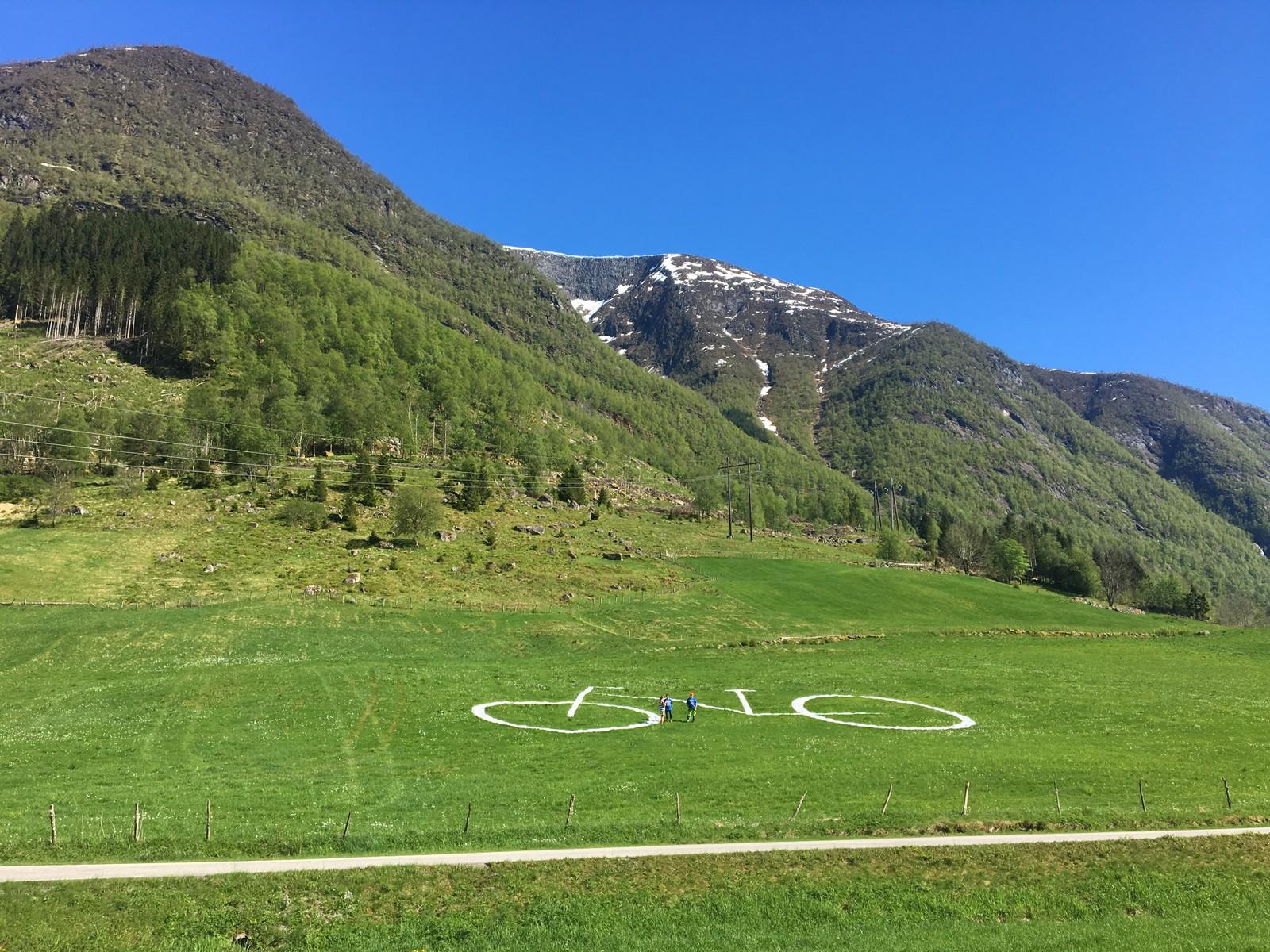 Hjul med ti meter i diameter langs vegen, det møter syklistane i Ulvestadbakkane i Vetlefjorden.