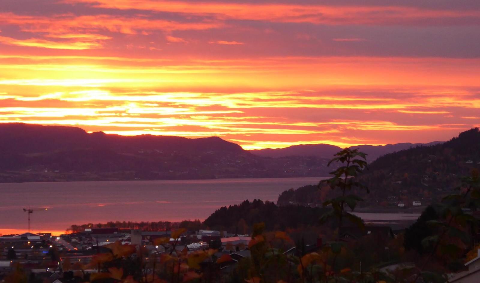 Solnedgang over Stjørdal