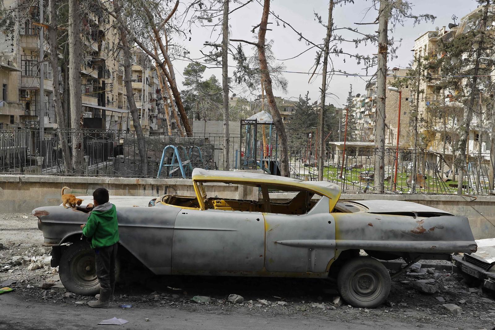 En gutt leker med en katt på en av Mohammads biler.