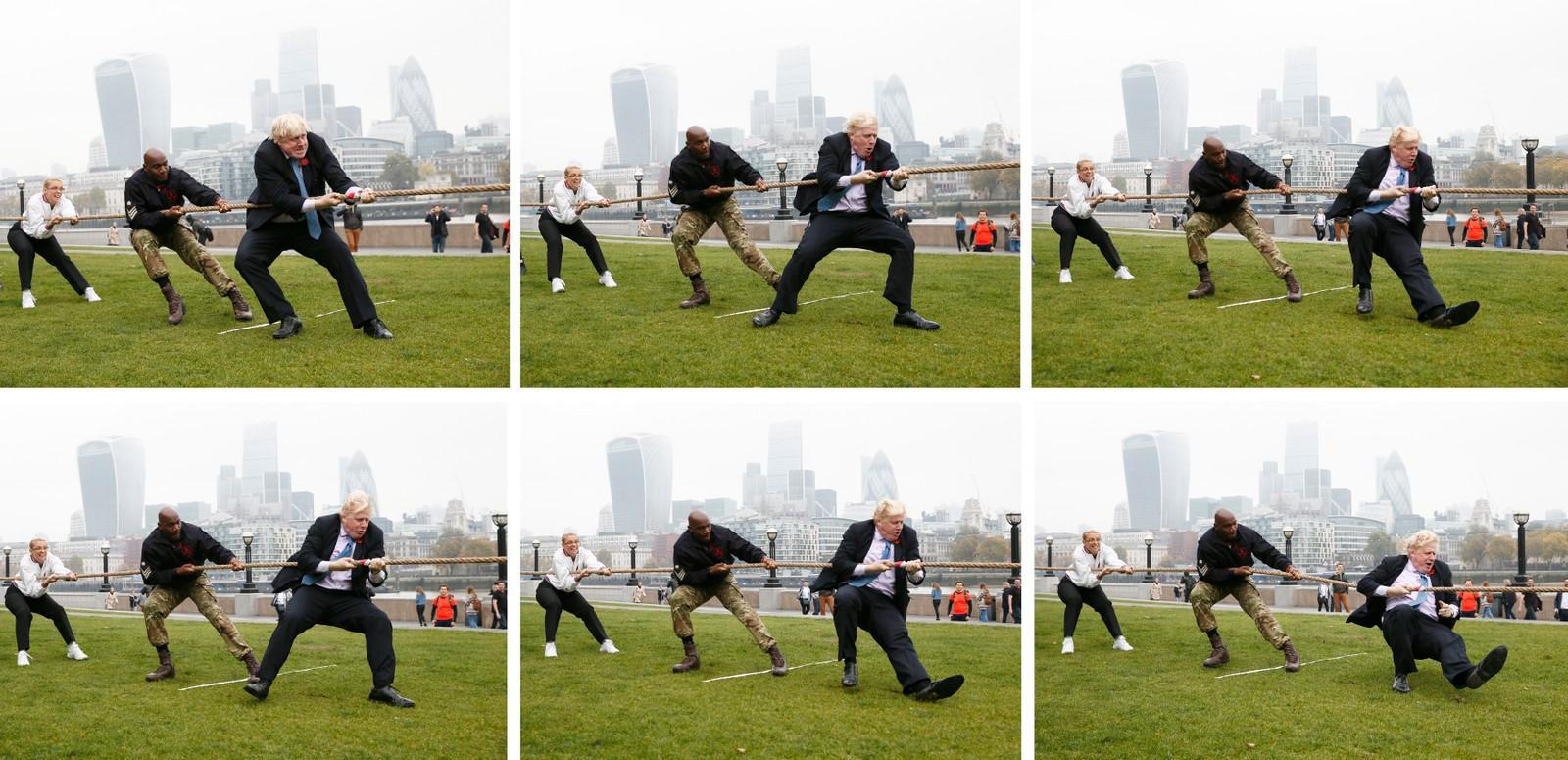 Londons ordfører Boris Johnson ga tilsynelatende alt i en drakamp under et veldedig arrangement denne uka.