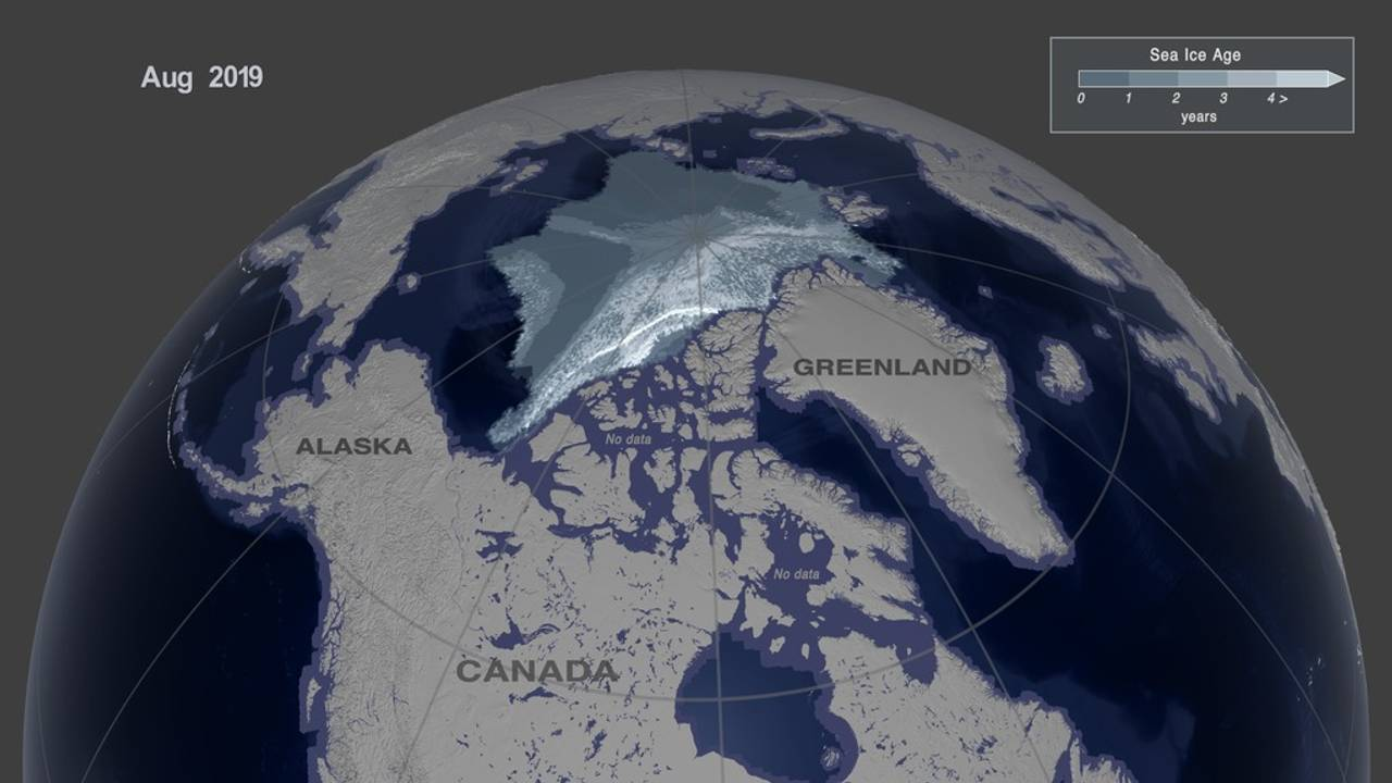 This image shows the Arctic sea ice age in August, 2019