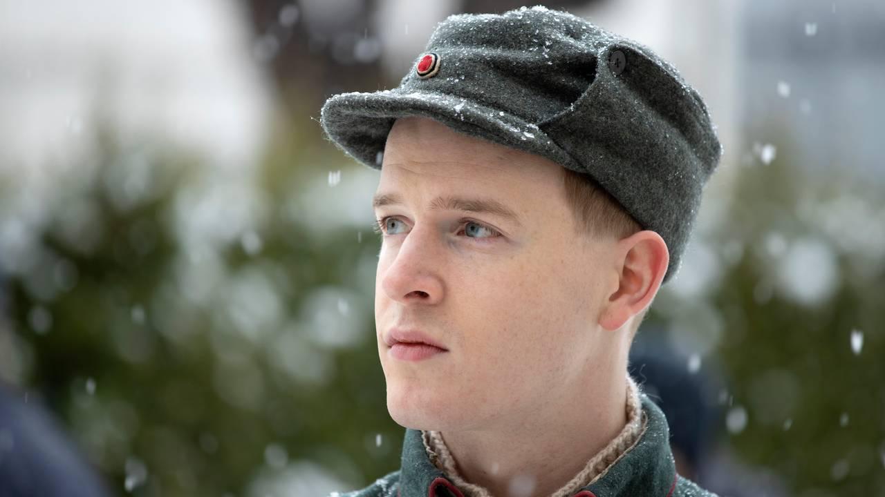 Carl Martin Eggesbø under innspillingen av «Kampen om Narvik, Hitlers første nederlag» i Drammen