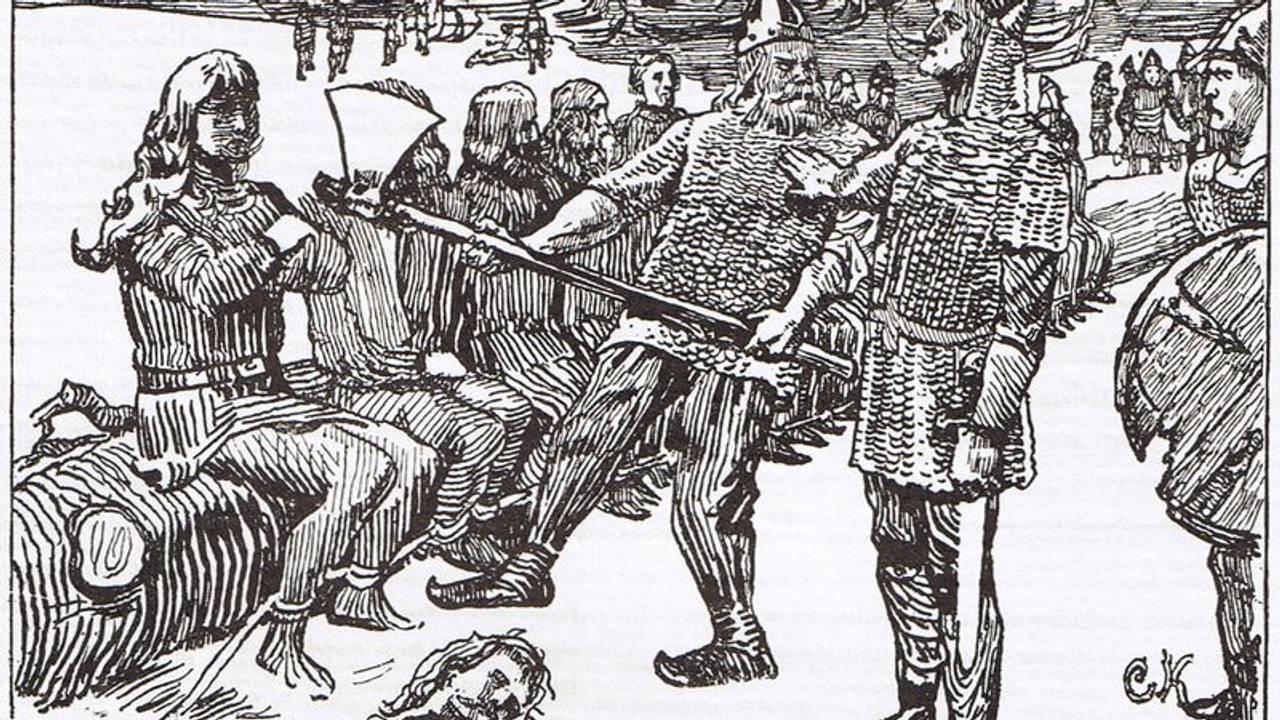 Jomsvikinger henrettes etter slaget ved Hjørungavåg. Tegning av Christian Krohg fra Snorre Sturlasons kongesagaer.