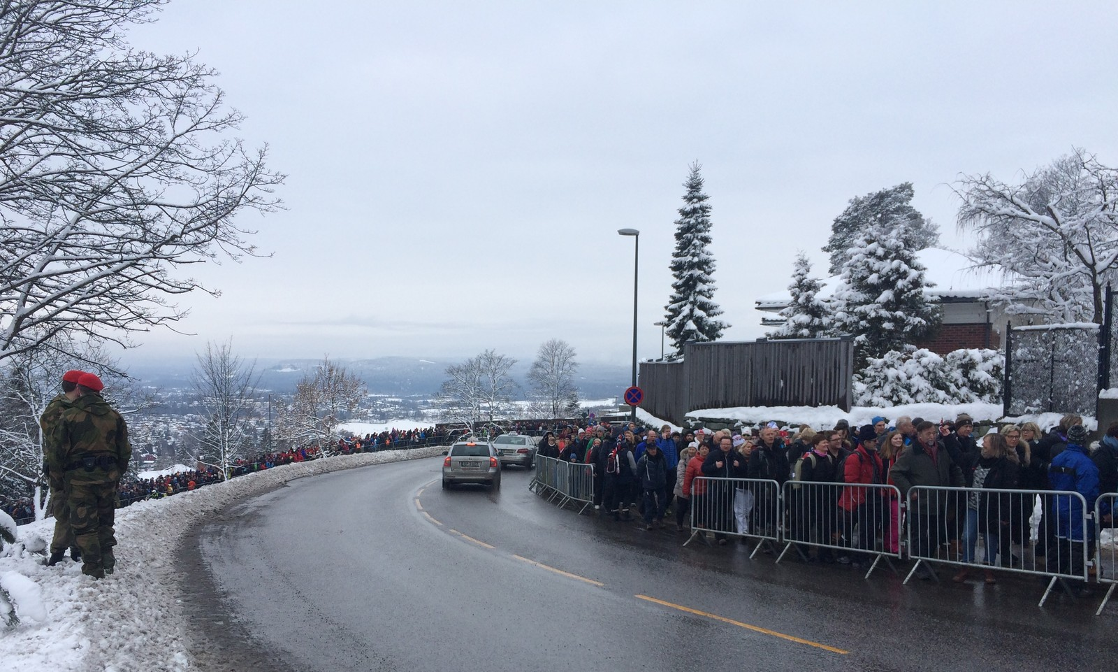 IBU Biathlon World Championships Oslo 2016: Sprint events Saturday 5 March:  The crowds queued up from the Holmenkollen tramcar station to get to Holmenkollen.