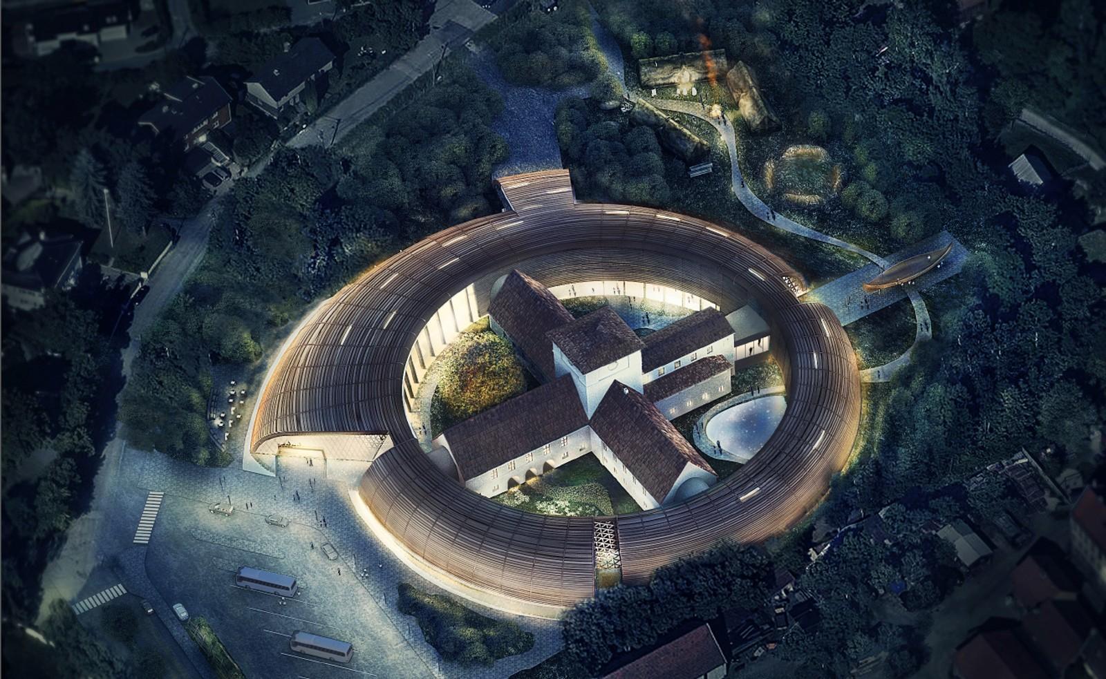 Dette forslaget går ut på å bygge et sirkelformet museum rundt vikingskipmuseet. NRK har ikke fått vite hvem som har sendt inn bidragene.