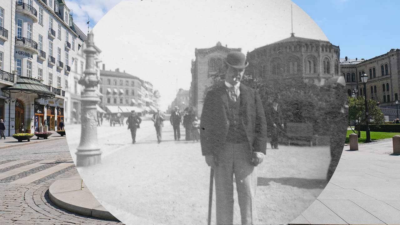 Wilhelm Schlytter står ved Karl Johans gate, Oslo, med Stortinget bak. Tatt av Carl Størmer på 1890-tallet. Rammet inn i 2021.