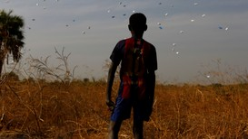A boy watches sacks of food drop to the ground during a United Nations World Food Programme airdrop close to Rubkuai village in Unity State, northern South Sudan - Foto: Siegfried Modola/Reuters