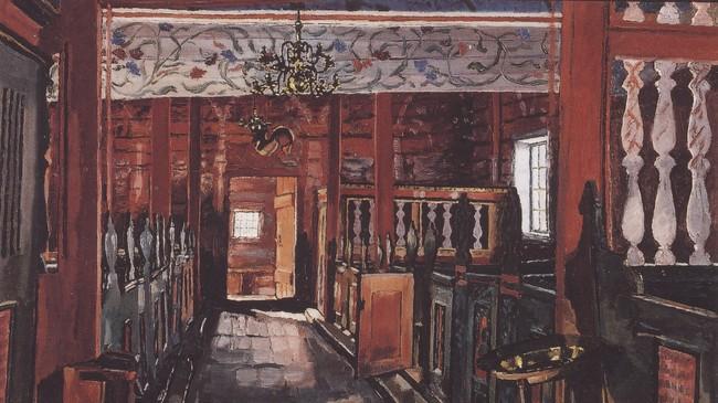 Interiøret i gamle Gimmestad kyrkje, måla av kunstnaren Petter Eide.