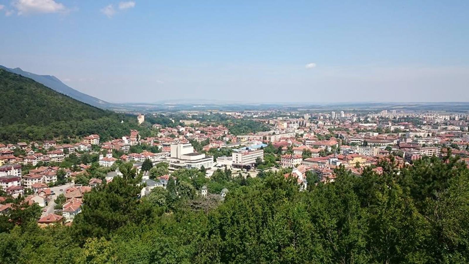 Byen Vratsa fotografert fra en høyde.