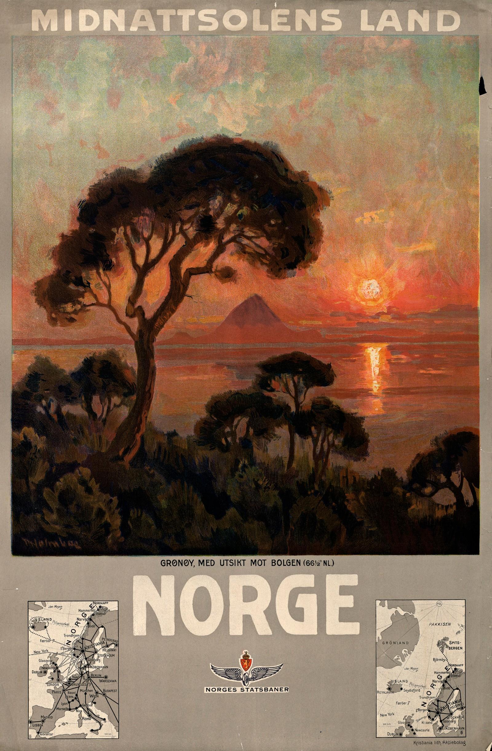 Norge – midnattsolens land. Turistplakat fra 1905-10 for NSB av Torolf Holmboe.