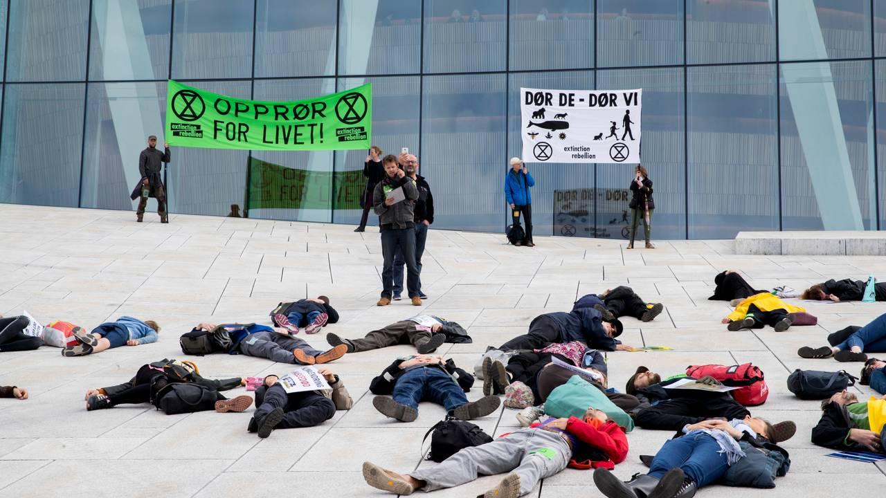 Klimaaksjon på operaen i Oslo