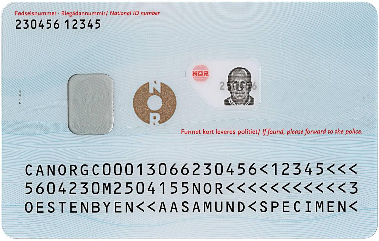 Nasjonalt ID-kort med reiserett bakside