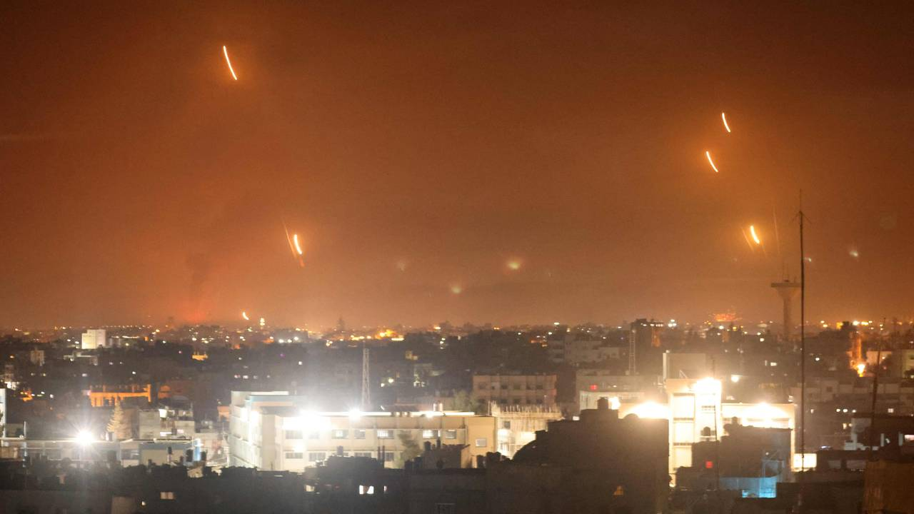 Raketter skutt mot Israel fra Rafah på Gazastripen natt til 12. mai.