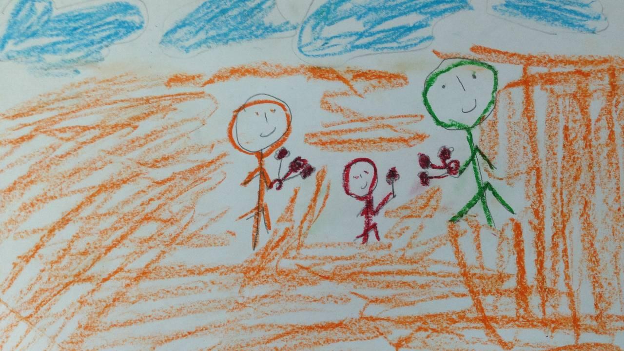 Traumetegninger av barn i Midtøsten.