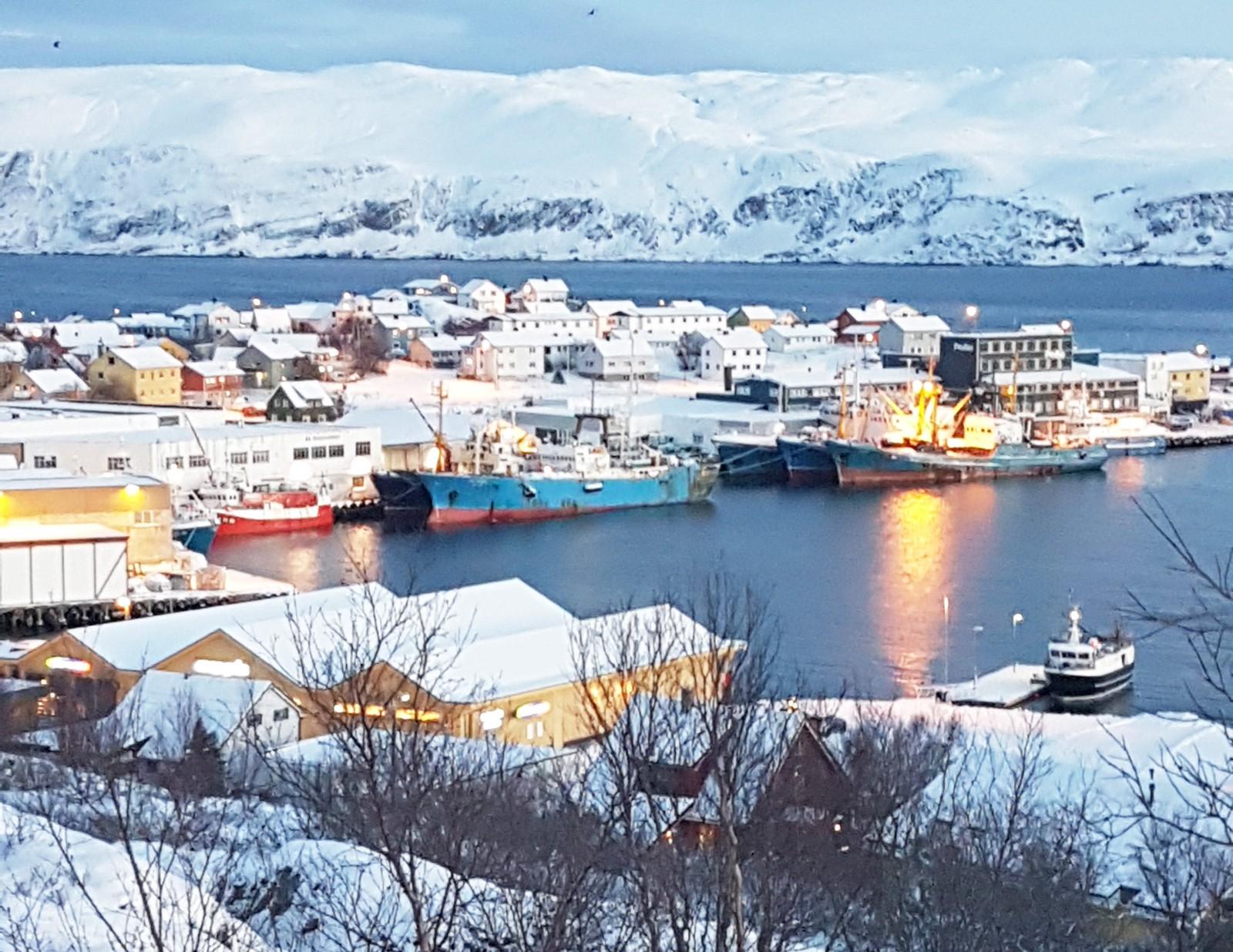 Båtsfjord ligger langs en fjord langt sør og øst for Nordkapp. Like før klokka er ett på dagen seint i november begynte det å mørkne igjen og lyset blir blått.
