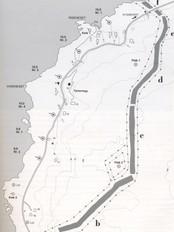 """Kart over kystfortet på Risenes. Frå boka """"Fronten er kysten!"""""""