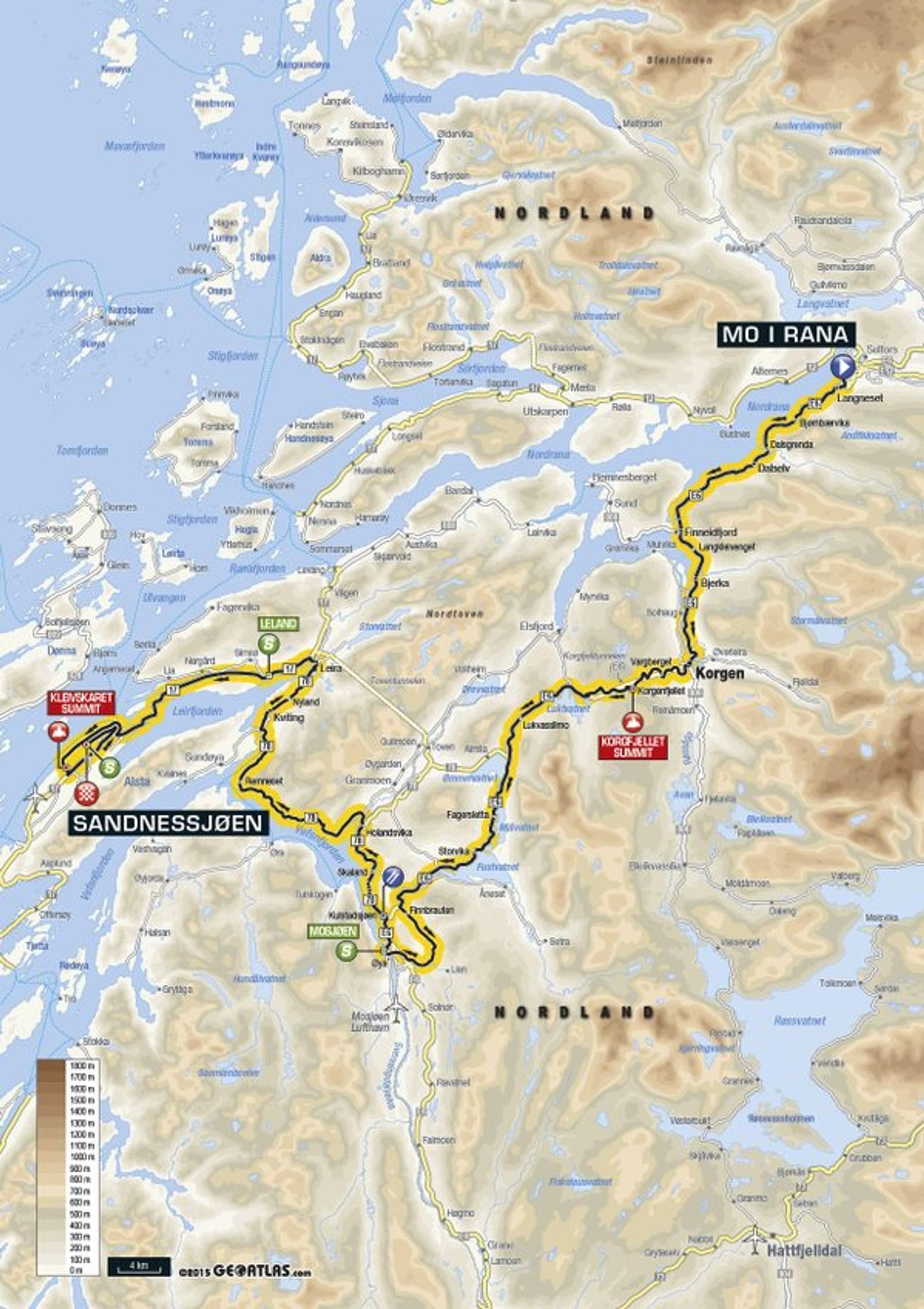 Andre etappe Mo i Rana - Sandnessjøen er på 198 kilometer. På denne etappen vil rytterne krysse Polarsirkelen.