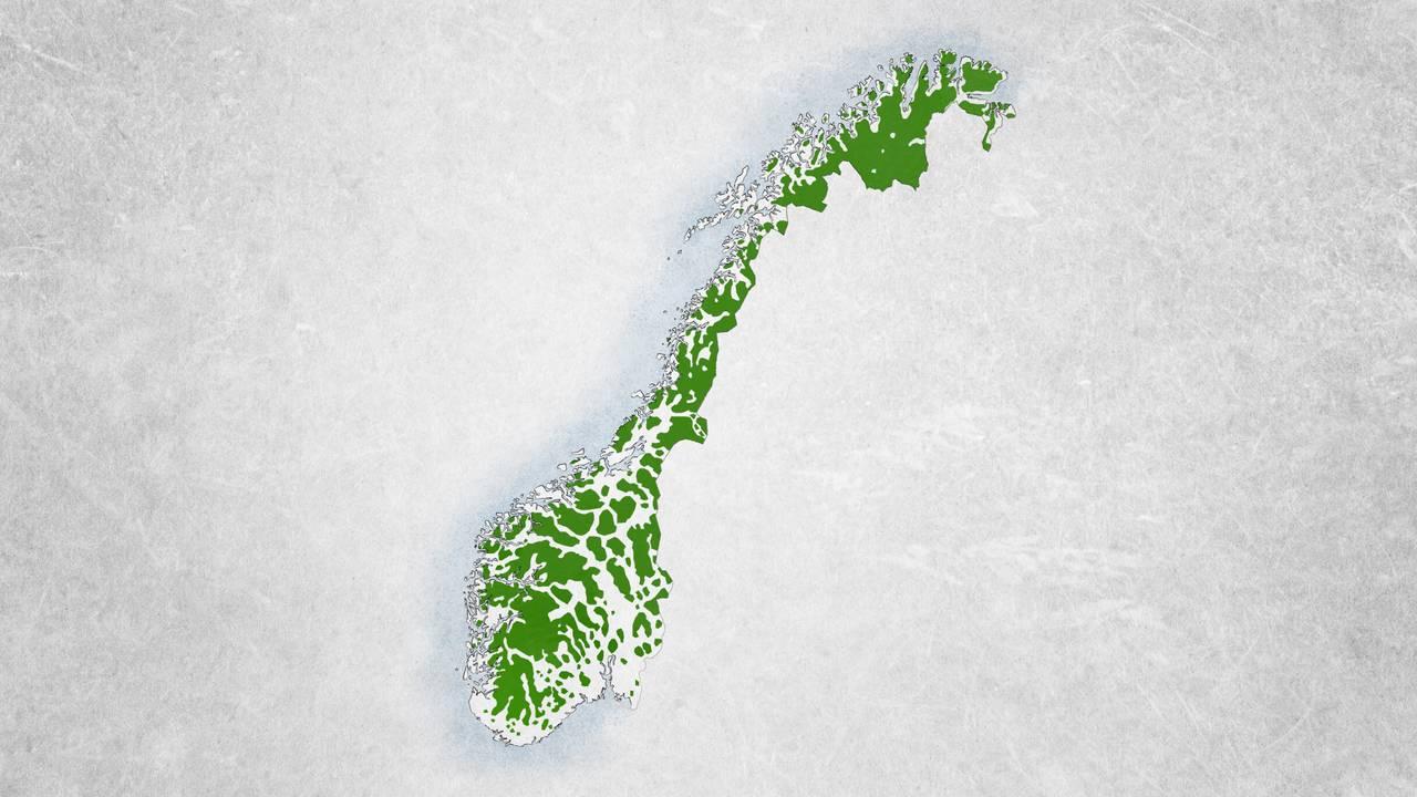 Kart over Norge som illustrerer at halvparten av landet var dekket av villmark i år 1900.