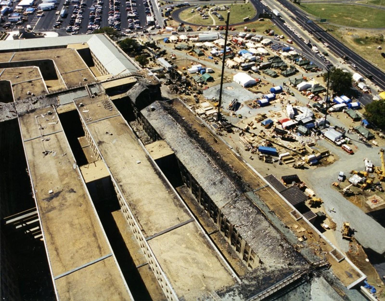 Oversikt over Pentagon-bygget etter terror-aksjonen.
