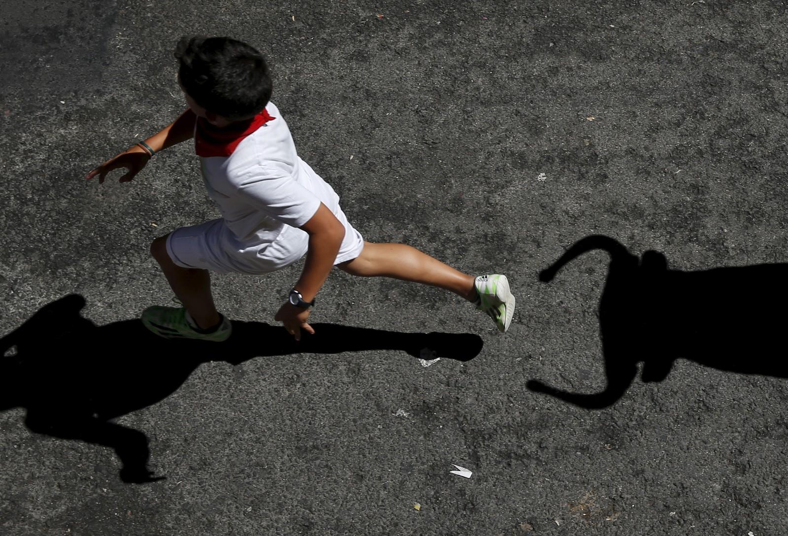San Fermin-festivalen i Pamplona har også noe for barna. Riktignok er det en lekeokse, men løp er løp.