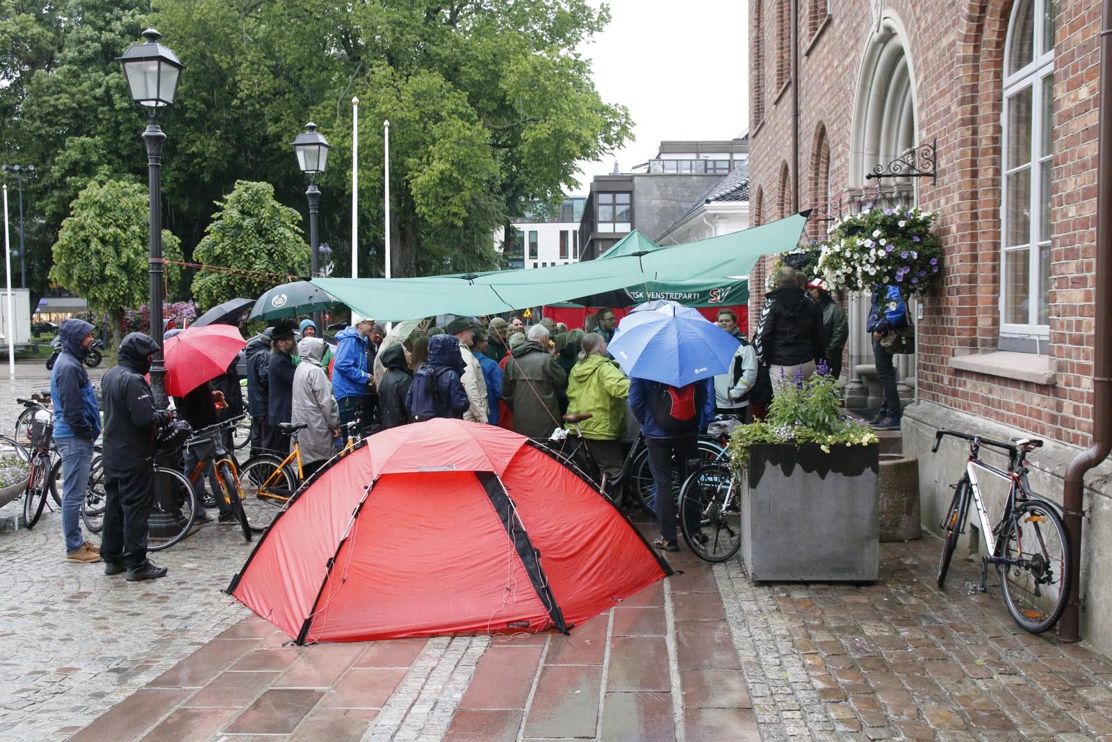 Flere demonstranter møtte opp foran rådhuset for å be politikerne om å si nei til parkeringsplasser under Torvet.