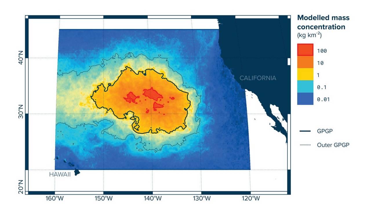Kart fra Ocean Cleanup som viser hvor de største plastkonsentrasjonene er i Stillehavet