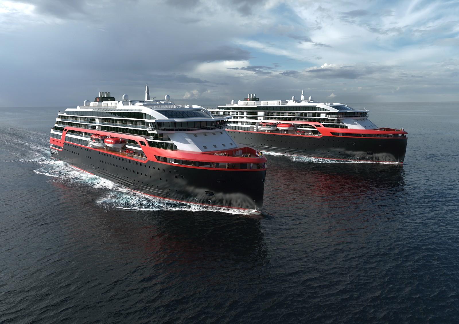 """Slik blir de nye Hurtirute-skipene, MS """"Roald Amundsen"""" og MS """"Fridtjof Nansen"""", seende ut."""