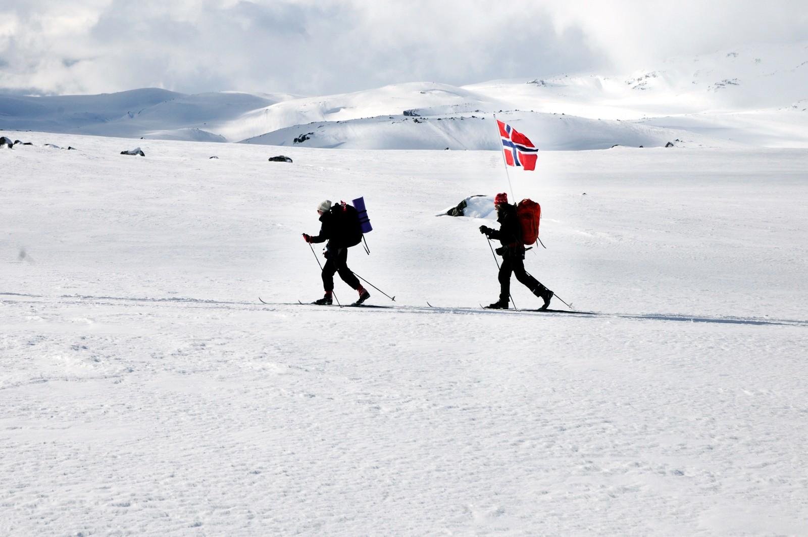 Ekteparet var lett synlige på Hardangervidda.
