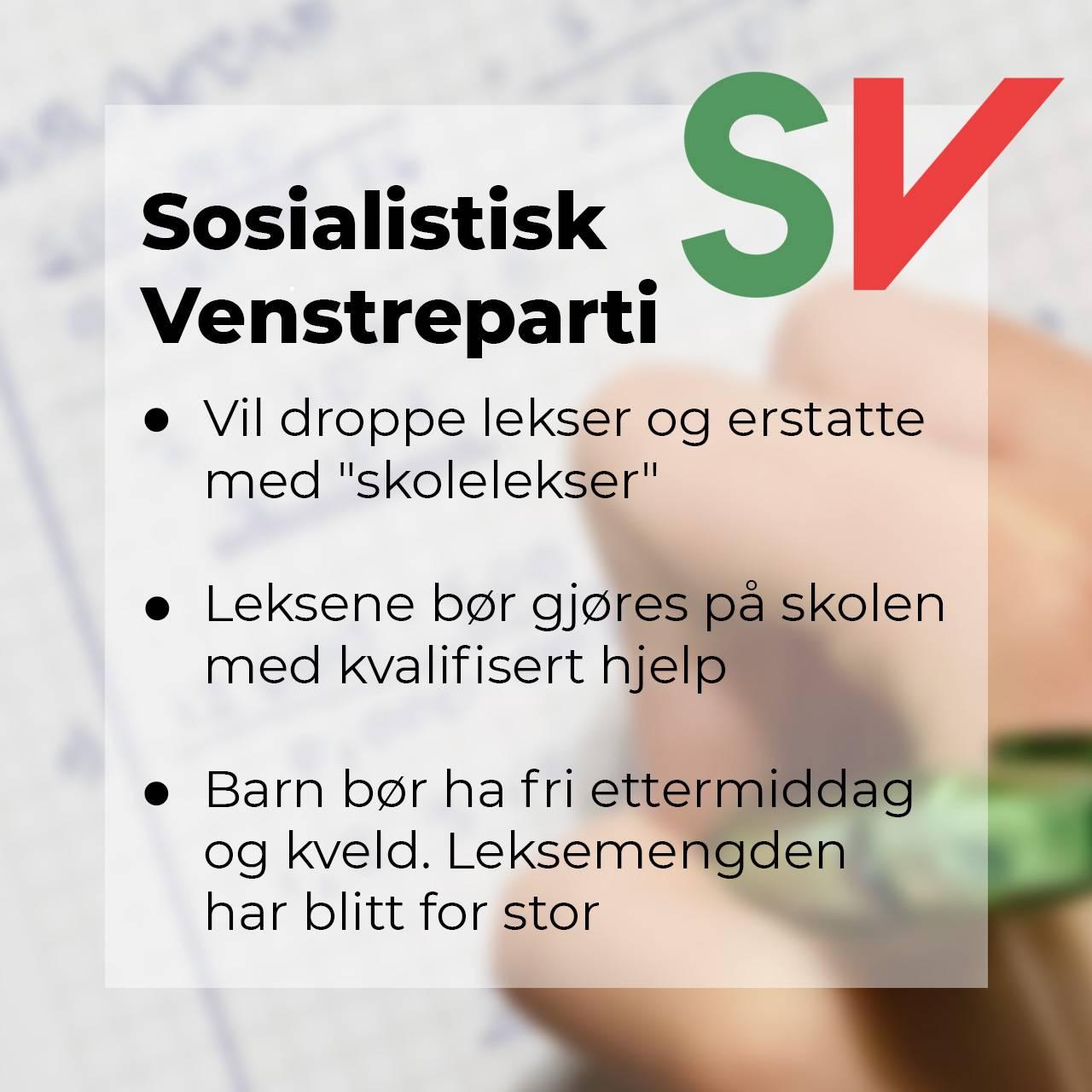 Sosialistisk Venstreparti om leksefri