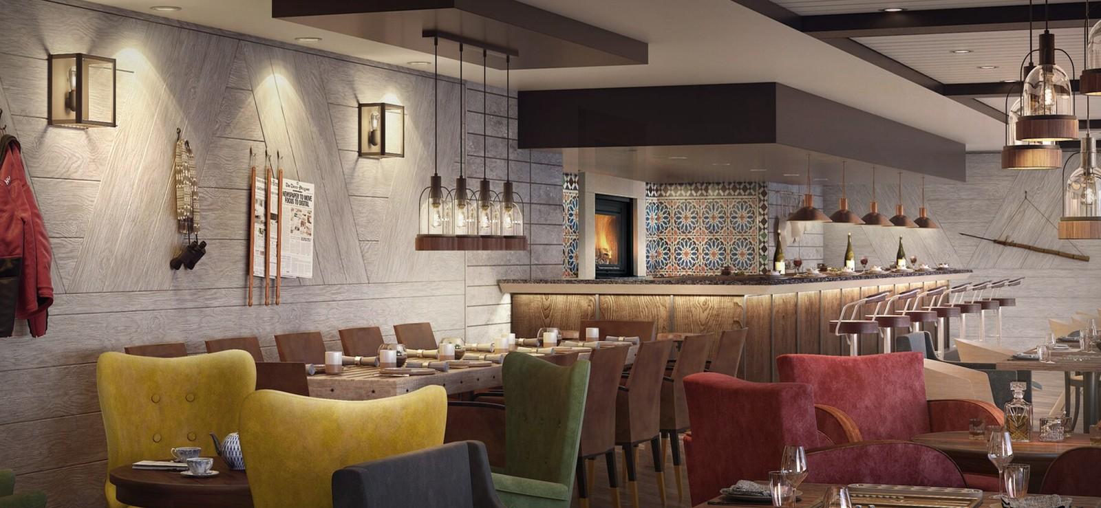 """Slik vil én av restaurantene i de nye hurtigruteskipene bli seende ut. MS """"Roald Amundsen"""" og MS """"Fridtjof Nansen""""."""