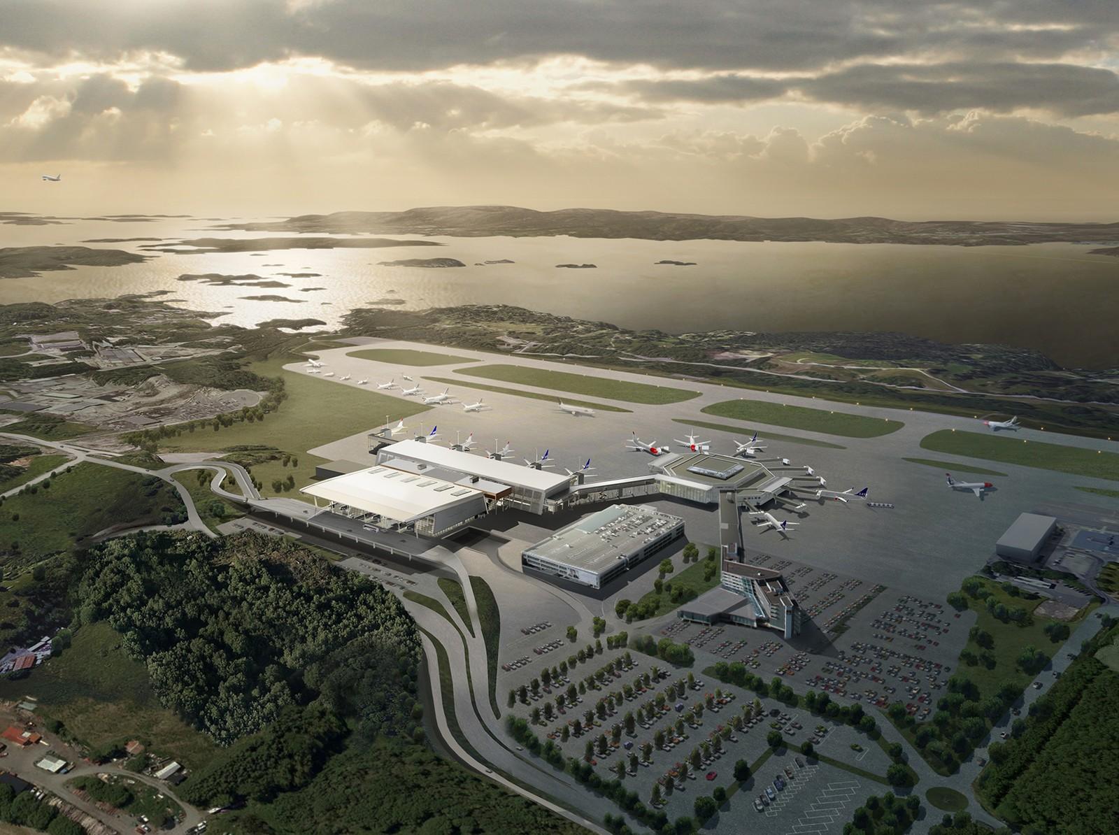 NY TERMINAL: Slik skal Flesland se ut når utbyggingen er ferdig. Illustrasjon: Nordic – Office of Architecture