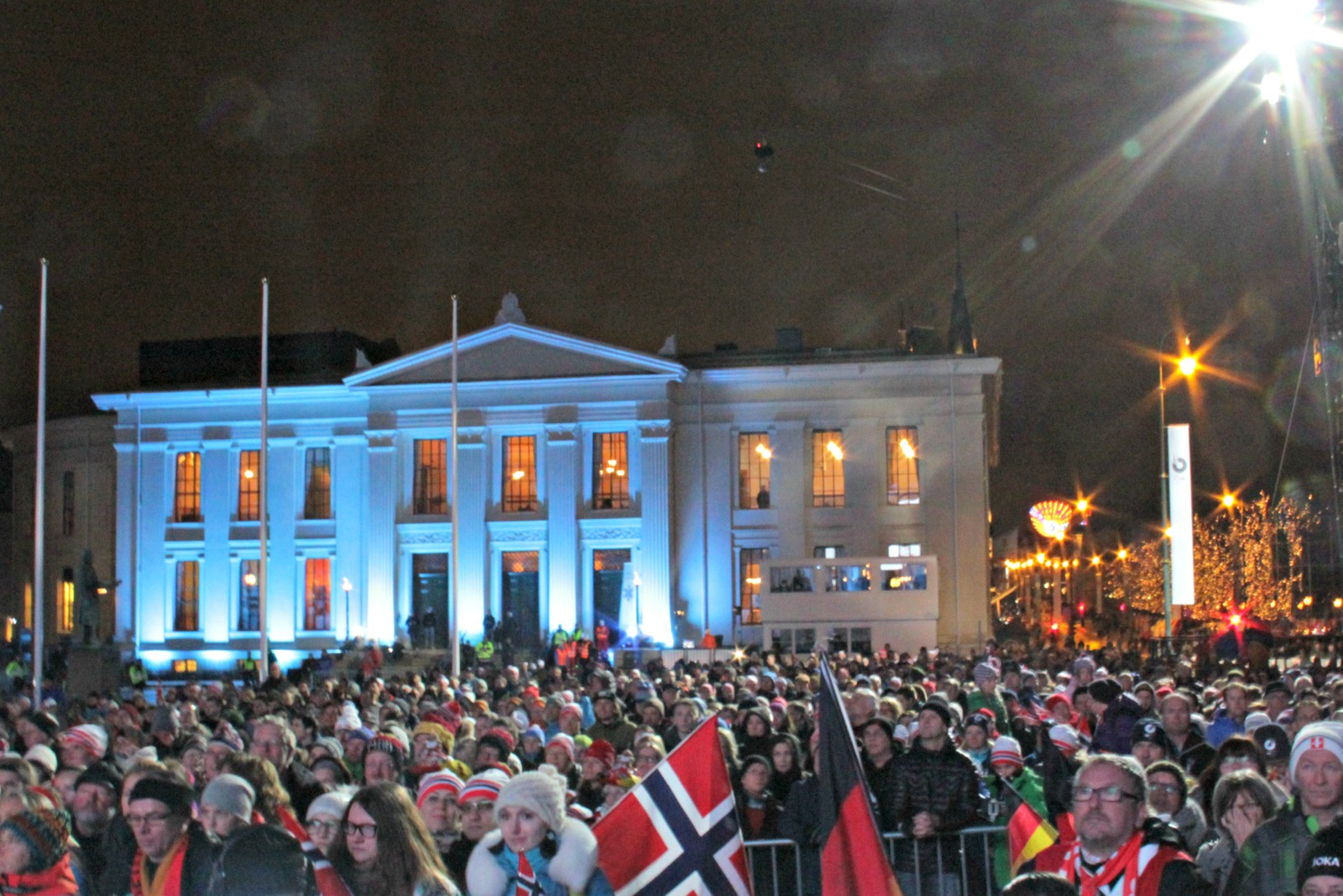 Crowds at the medal award ceremony at the University Square in downtown Oslo.