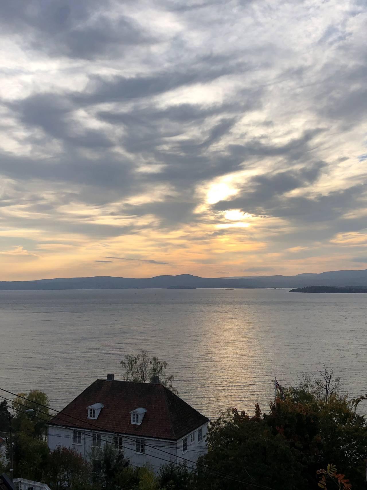 Solnedgang, Nesodden over Oslofjorden