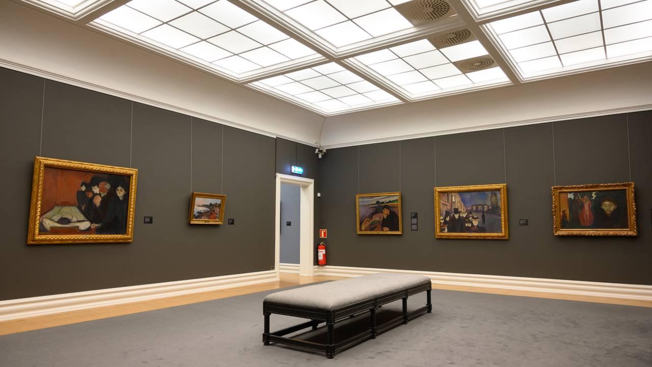 Interiørt fra Munch-utstillingen til KODE, kunstmuseene i Bergen.