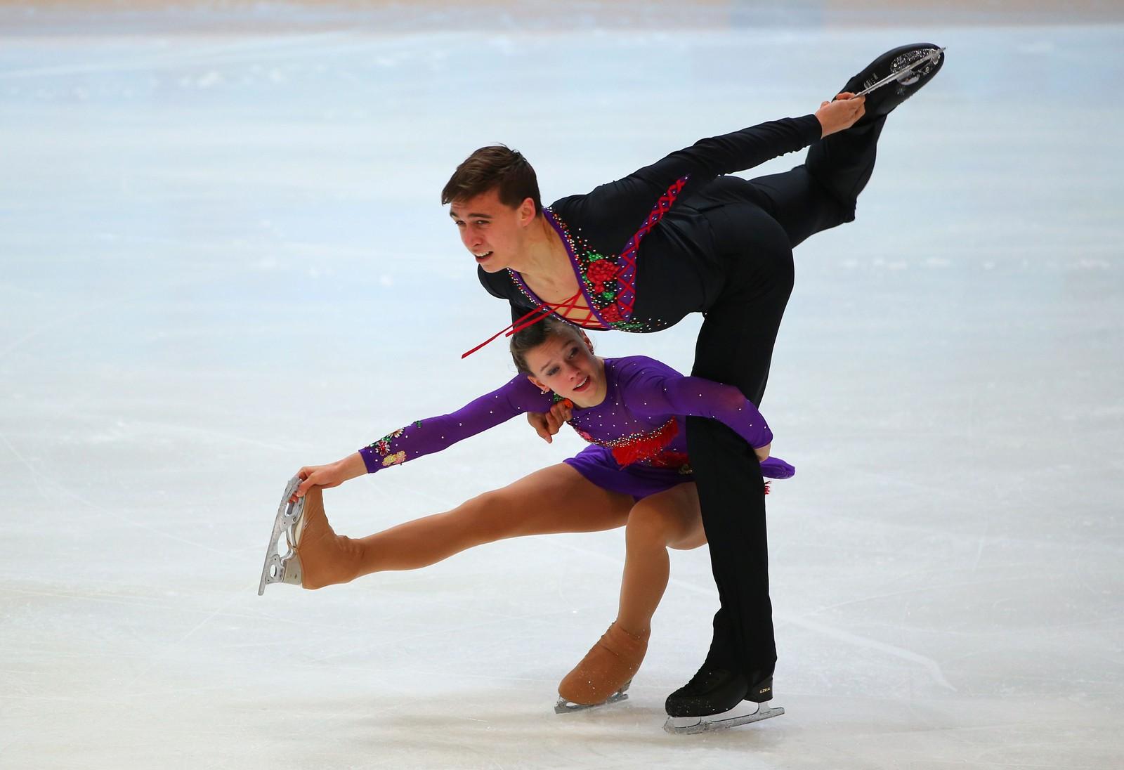 Anna Duskova og Martin Bidar fra Tsjekkia i Hamar OL-amfi.