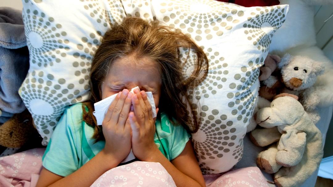 TRONDHEIM 20090805:Forkjølet liten jente. Har influensa. Nyser. Smitte. Smittefare. Bakterier. Forkjølelse. Syk. Trøster seg med kosedyr i sengen. Har feber. Snyter seg.Foto: Gorm Kallestad / SCANPIXNB! MODELLKLARERT
