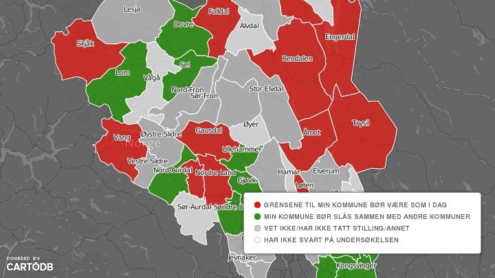 kommunesammenslåing kart Liten tro på kommunesammenslåinger – NRK Hedmark og Oppland  kommunesammenslåing kart