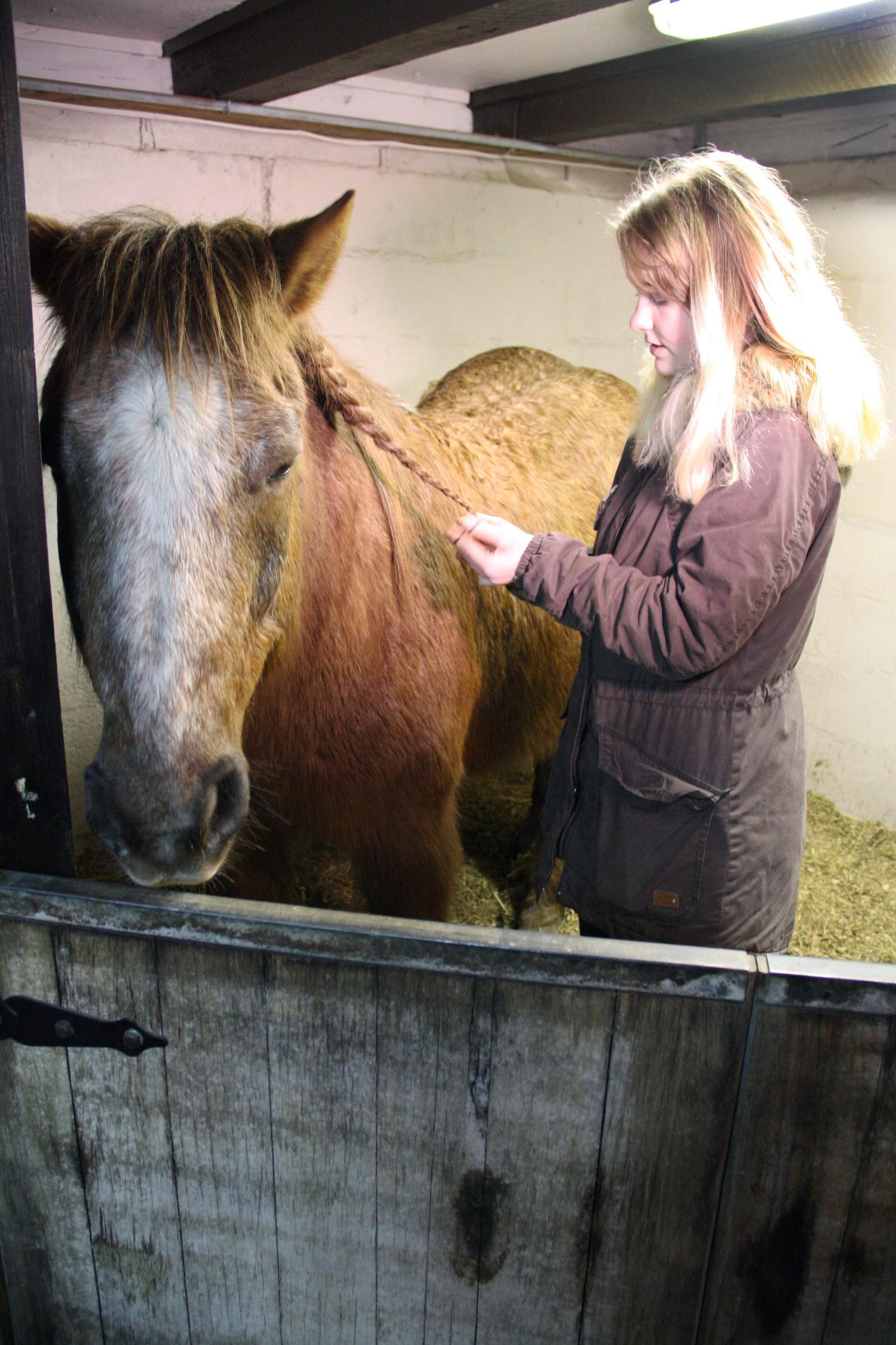 Thea er glad i å sette opp håret og prøve ut ulike frisyrer. Dette får også hesten Baltus merke.