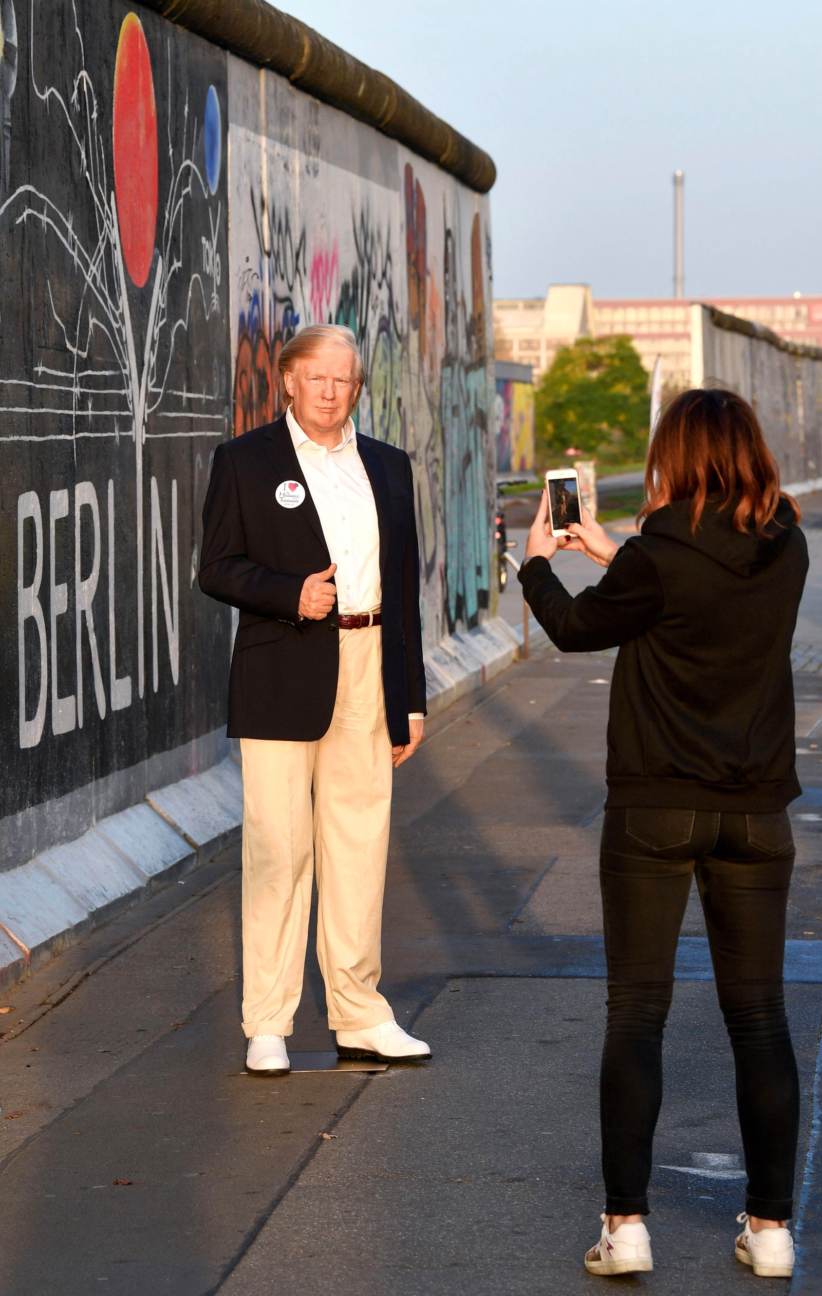 Denne voksdukken, som forestiller Donald Trump, skal stilles ut på Madame Tussauds i Berlin.
