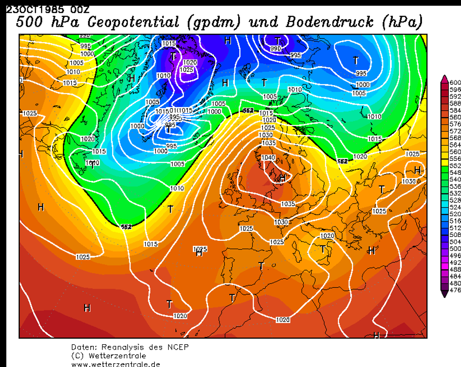 Kraftige høytrykk i oktober: 1985