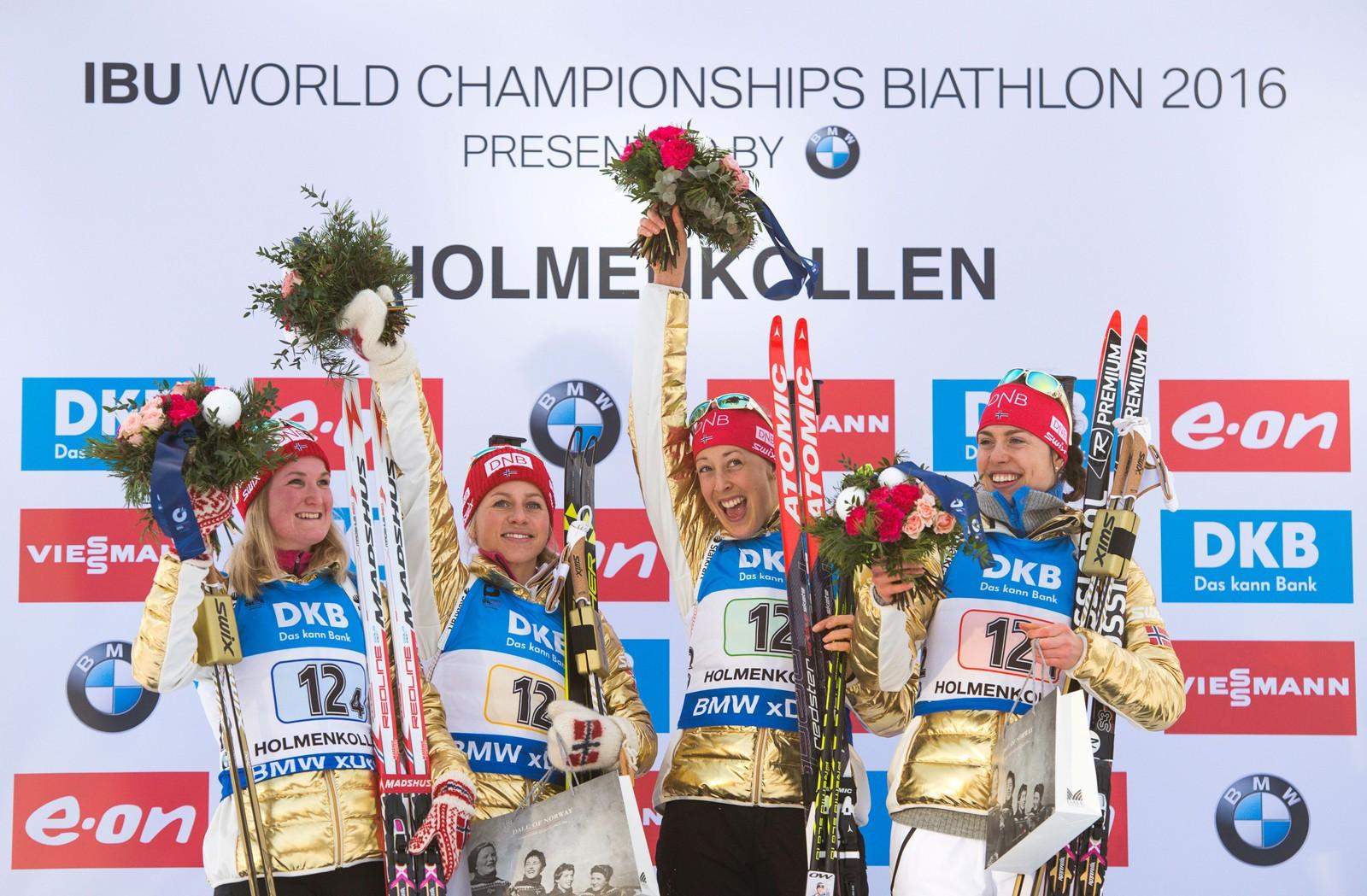 Stafett kvinner VM i skiskyting i Holmenkollen fredag. Fra v. Marte Olsbu, Tiril Eckhoff, Fanny Horn Birkeland og Synnøve Solemdal.